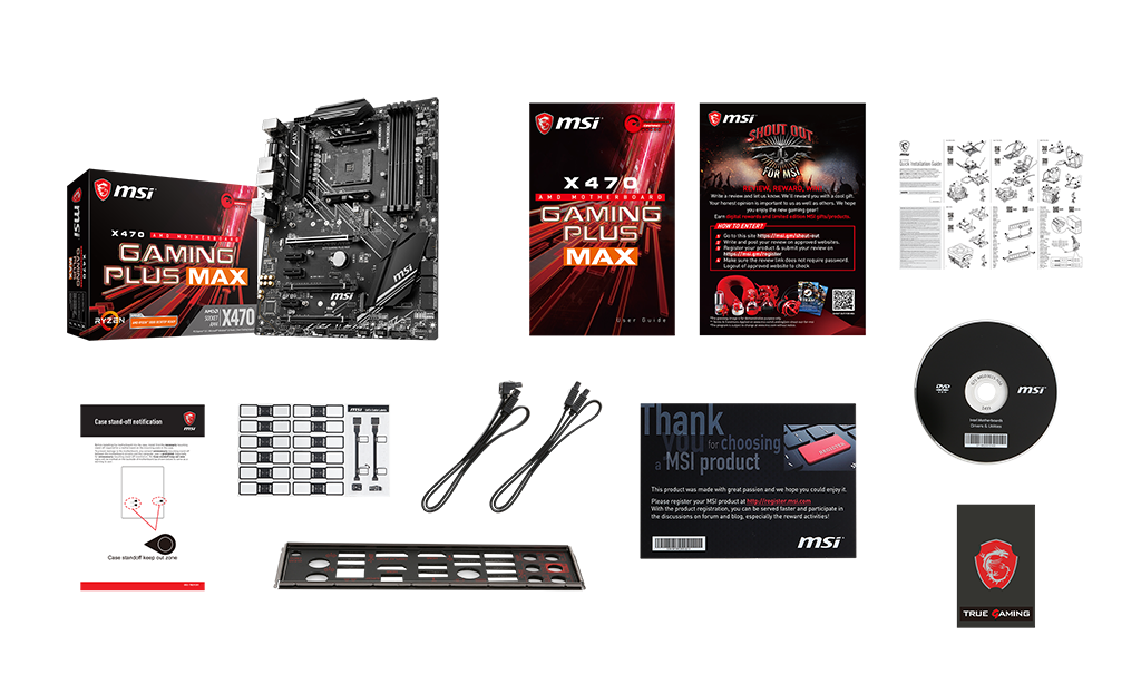 MSI X470 GAMING PLUS MAX box content