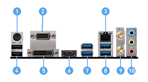 MSI B460M PRO-VDH WIFI back panel ports