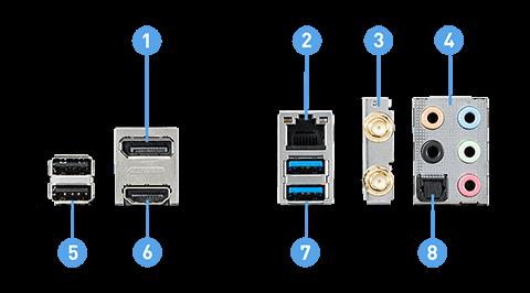 MSI H410I PRO WIFI back panel ports