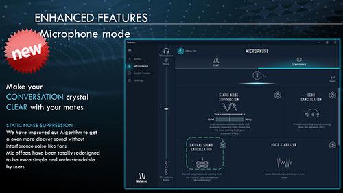 کاربران می توانند میزان سرکوب سر و صدای پس زمینه را کنترل کنند.