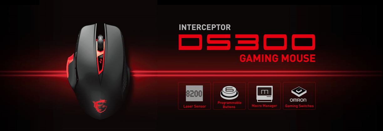 Gear up with the MSI Interceptor DS300 GAMING mouse
