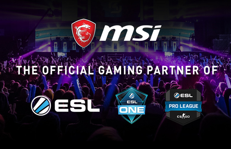 MSI Dedicated to Gaming Industry & Community. The ESL One 2018 Official Gaming Partner.