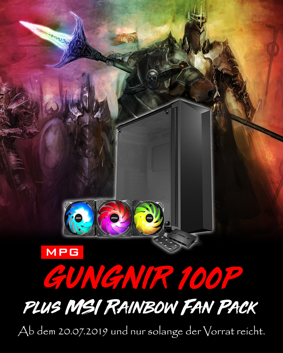 Gungnir 100P Plus MSI Rainbow Fan Pack