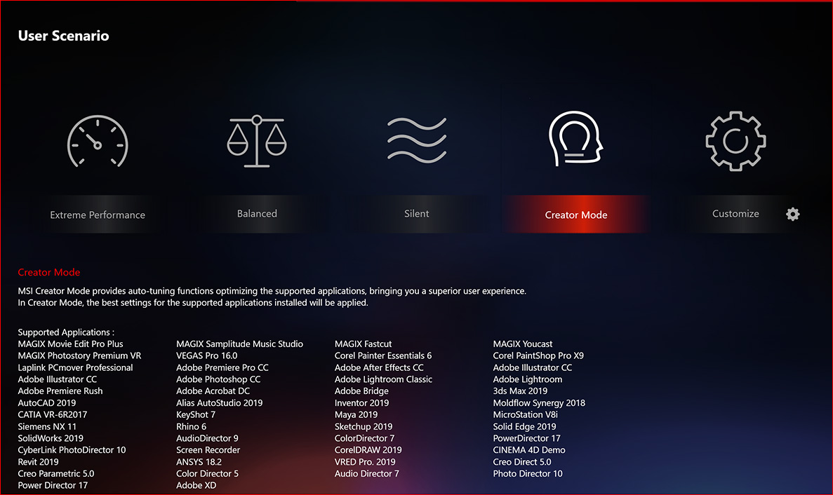 msi dragon center Creator mode screen