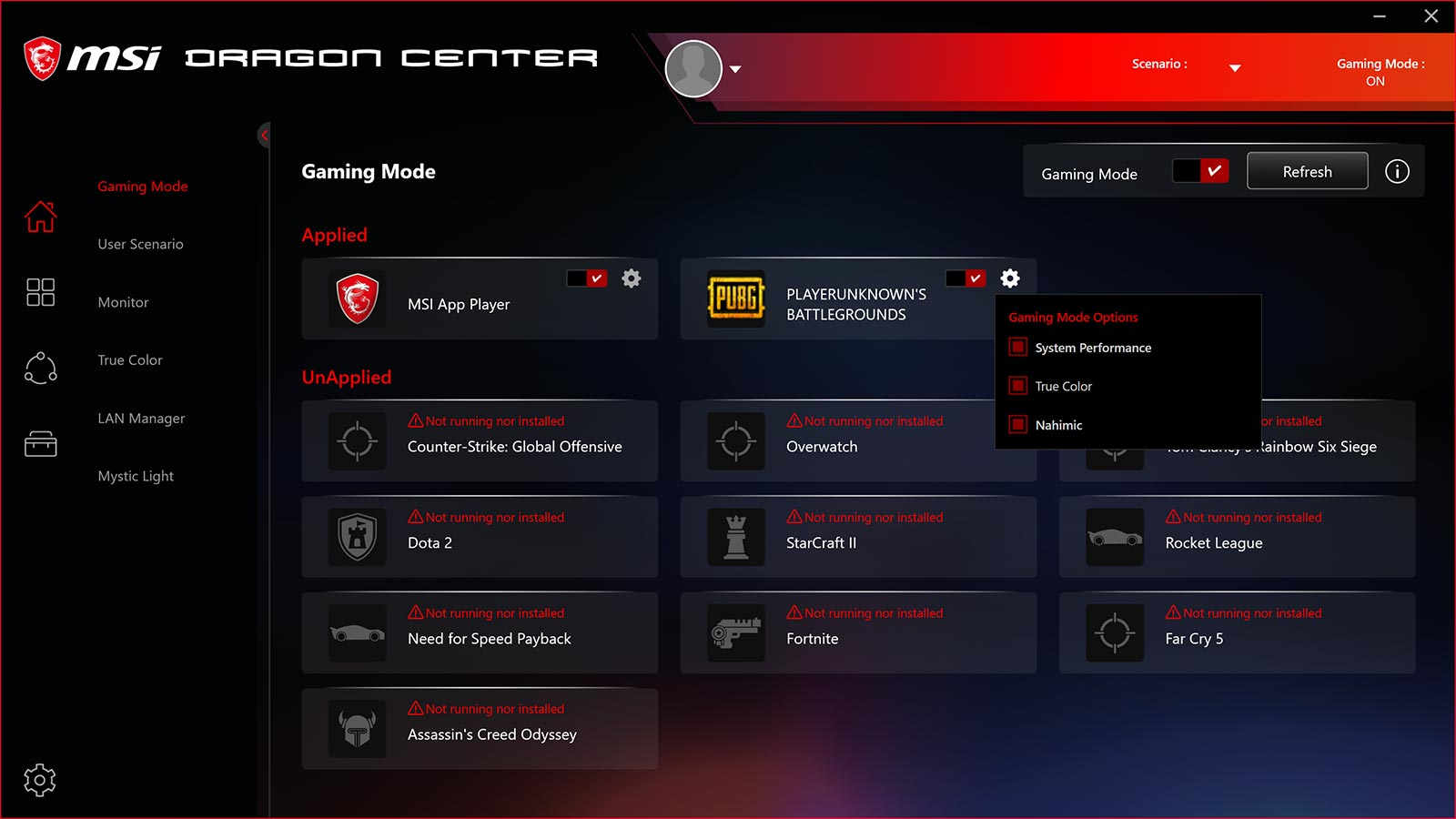 msi dragon center Gameing mode screen