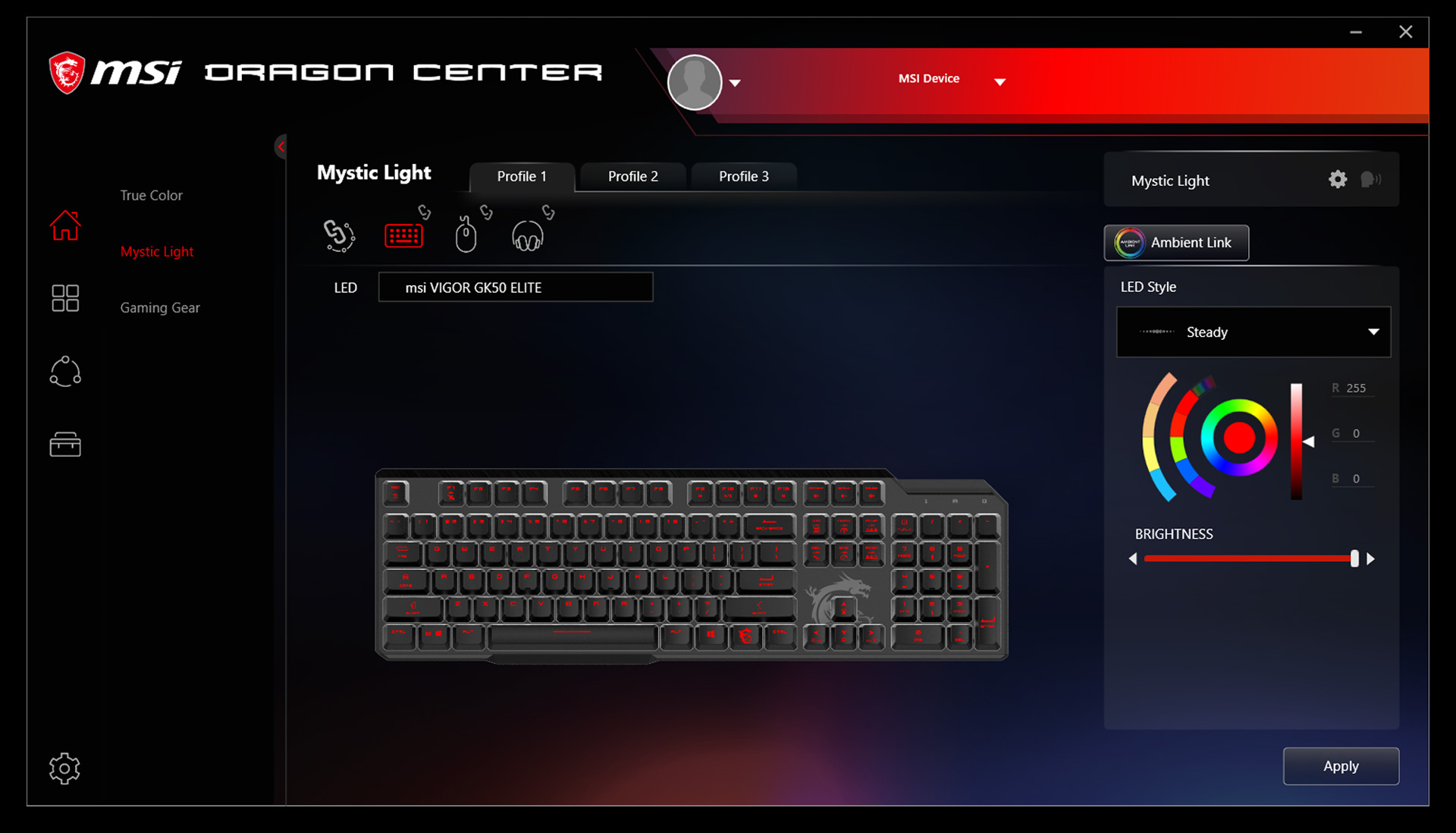keyboard rgb lighting effect setting