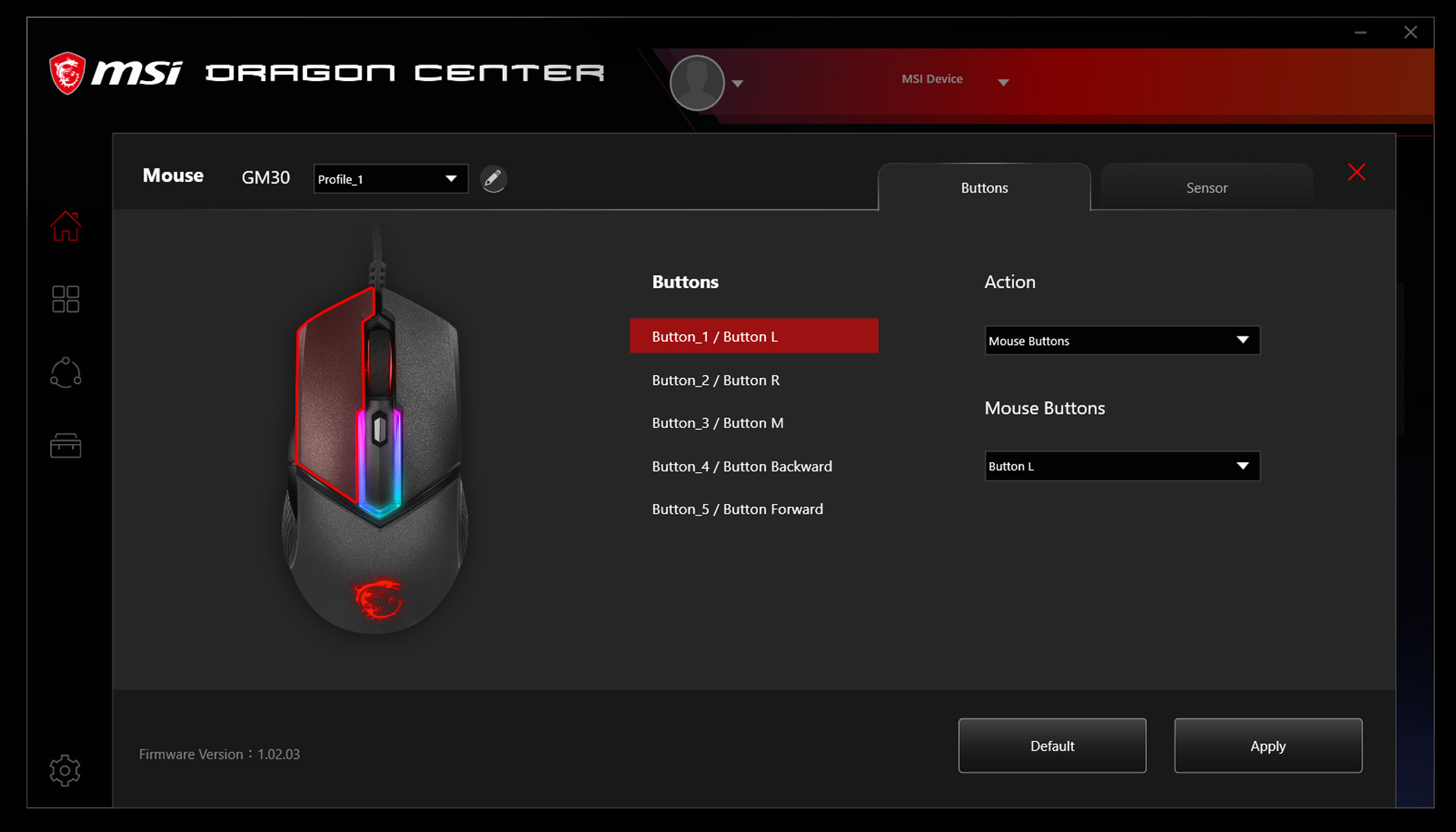 dragon center gaming armory mode 2.0