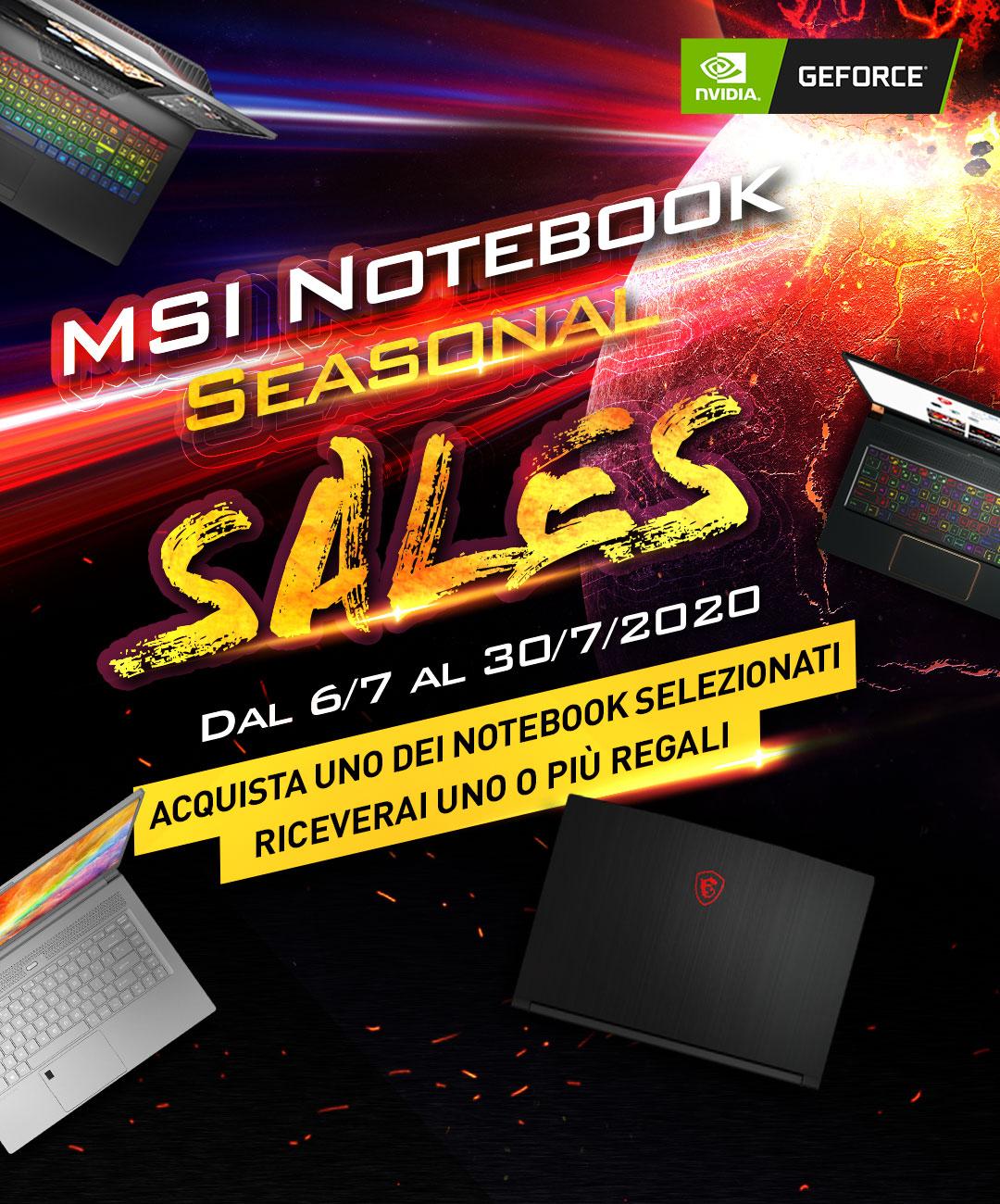 MSI Notebook seasonal sales