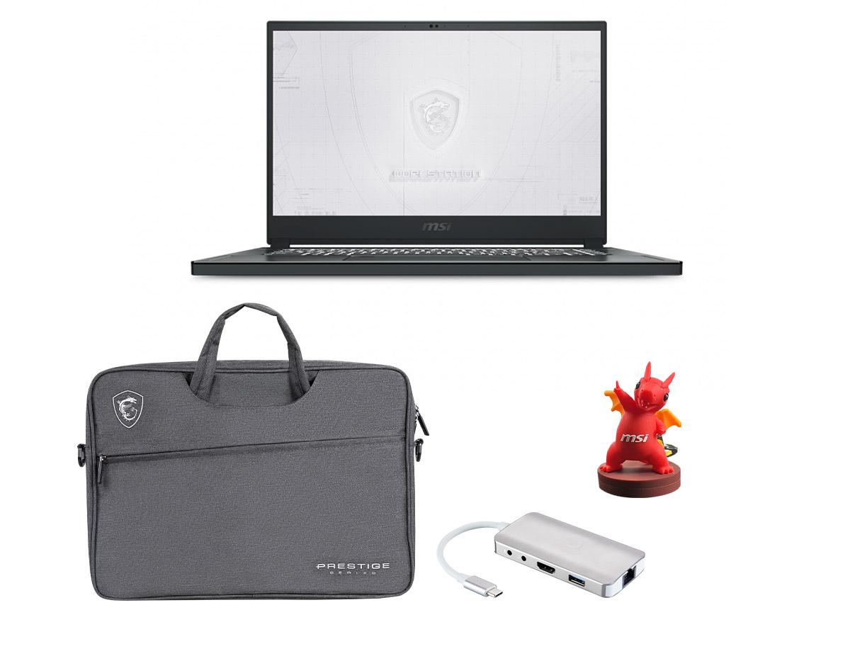 msi workstation laptop with 禮盒包 及行動側背包