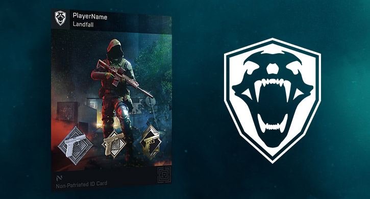 LANDFALL PLAYER CARD BACKGROUND AND OLD GUARD TAG