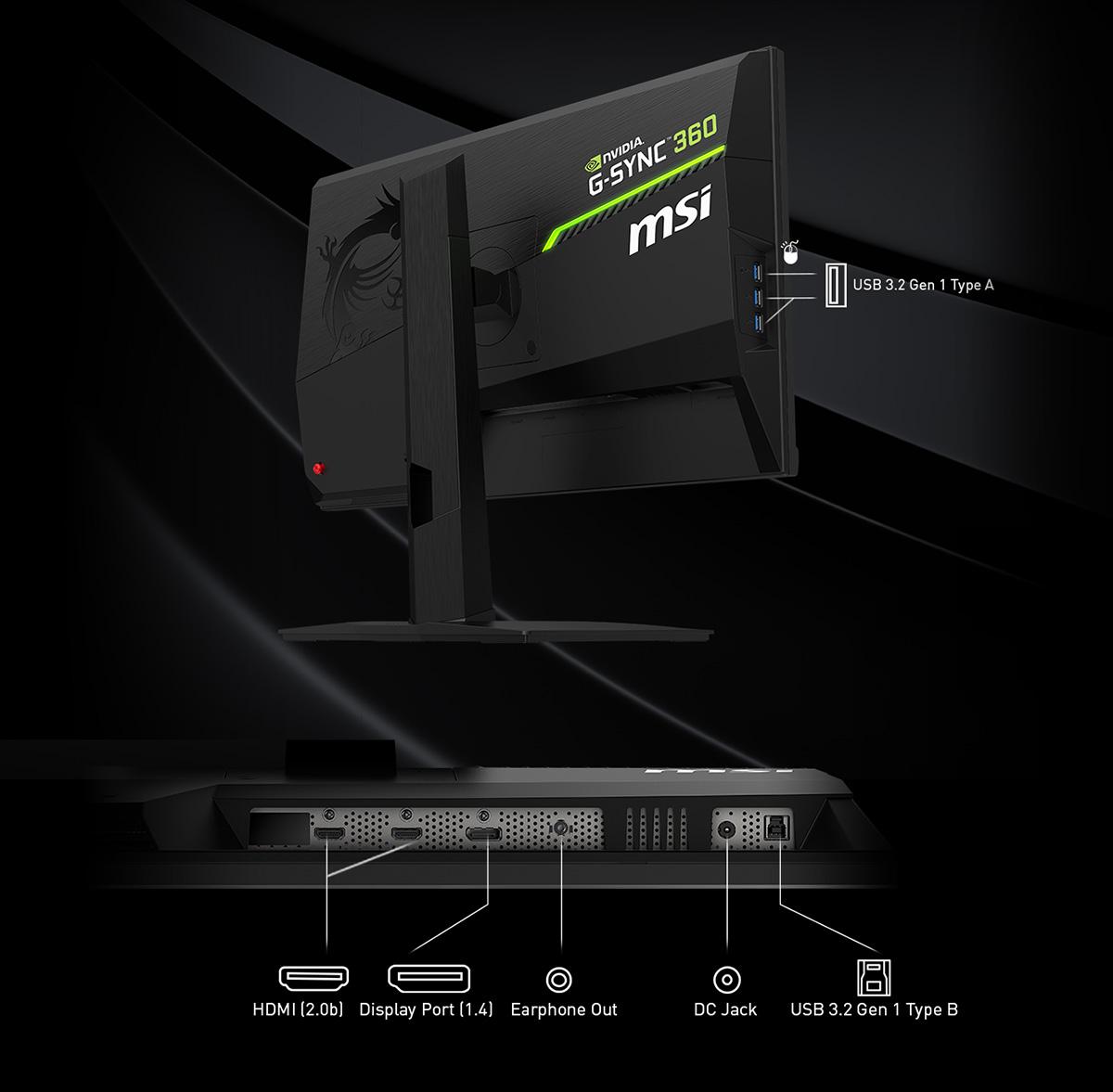 MSI NXG253R monitor back io image