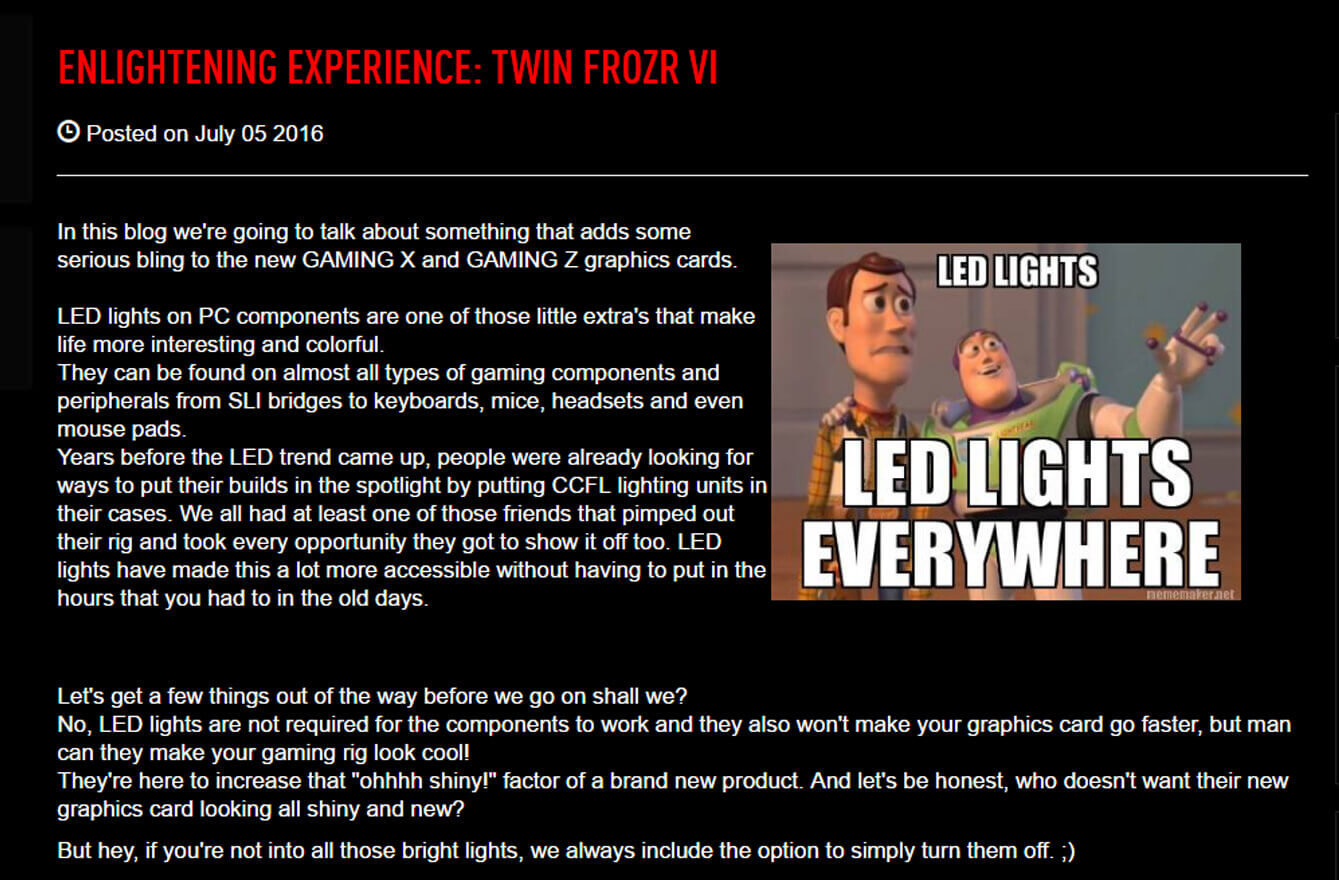 Enlightening Experience: TWIN FROZR VI