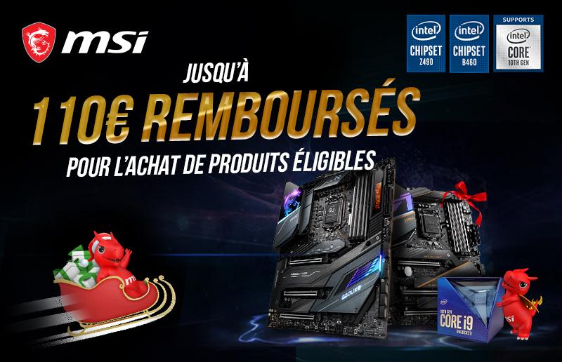 Pour Noël, MSI vous propose un remboursement allant jusqu'à 110 € pour l'achat d'une carte mère MSI Z490 ou B460 éligible et d'un processeur Intel de 10ème génération éligible.
