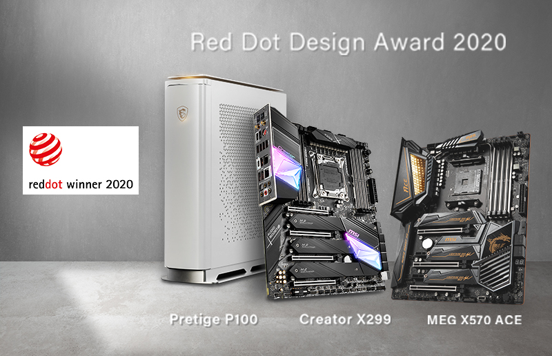 Red Dot Award 2020 Winner & the Inspiration of MSI Content Creation Desktop PC & Motherboards — Prestige P100, Creator X299 & MEG X570 ACE