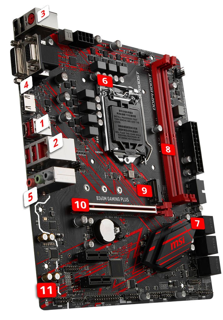 LGA1151 DVI-D Intel 8th and 9th Gen DDR4 Type-C M.2 USB 3.1 Gen2 MSI B360M GAMING PLUS Motherboard mATX RGB Mystic Light LAN VGA HDMI