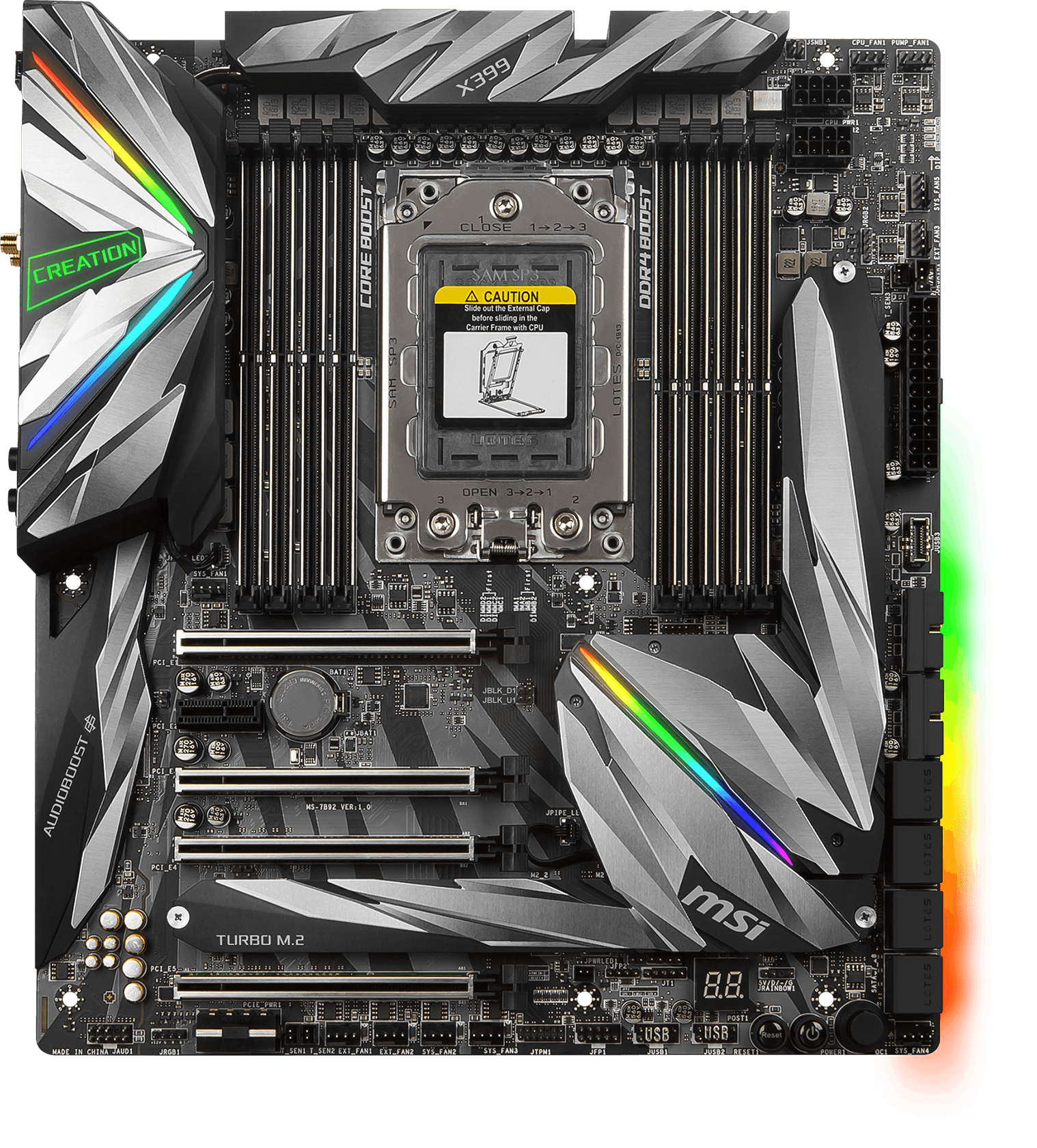Image result for MSI Gaming AMD Ryzen ThreadRipper DDR4 VR Ready HDMI USB 3 SLI CFX Extended-ATX Motherboard (MEG X399 Creation)