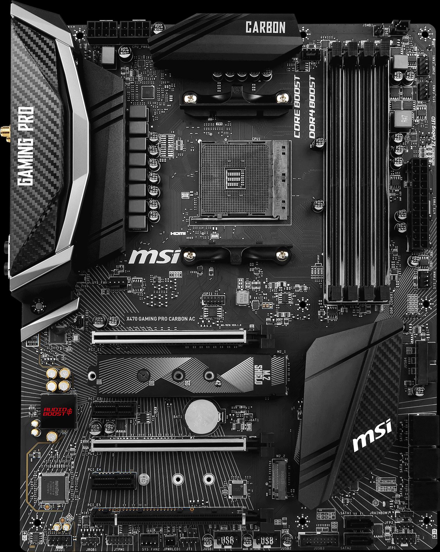 MSI X470 GAMING PRO CARBON Socket AM4 AMD X470 SATA 6Gb//s USB3.1 ATX Motherboard