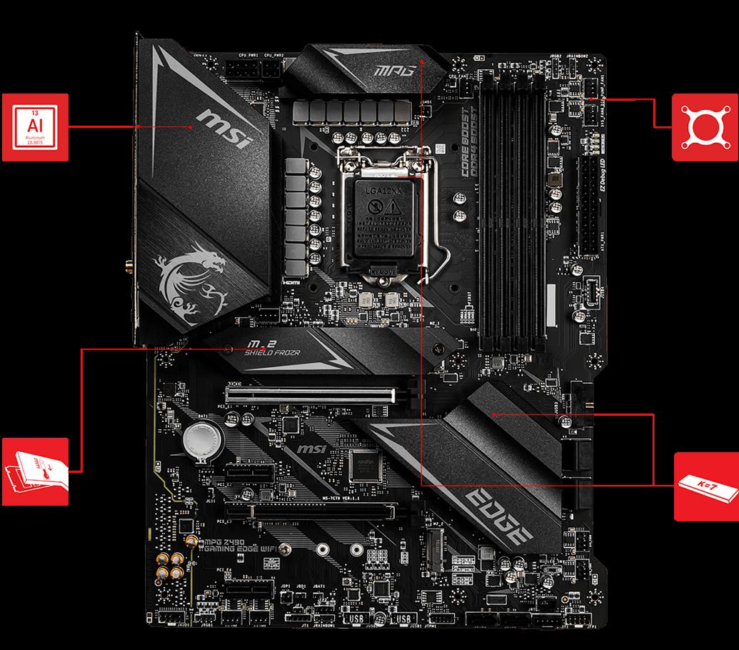 ATX, 10th Gen Intel Core, LGA 1200 Socket, DDR4, SLI//CF, Dual M.2 Slots, USB 3.2 Gen 2, Wi-Fi 6, DP//HDMI, Mystic Light RGB MSI MPG Z490 Gaming Carbon WiFi Gaming Motherboard