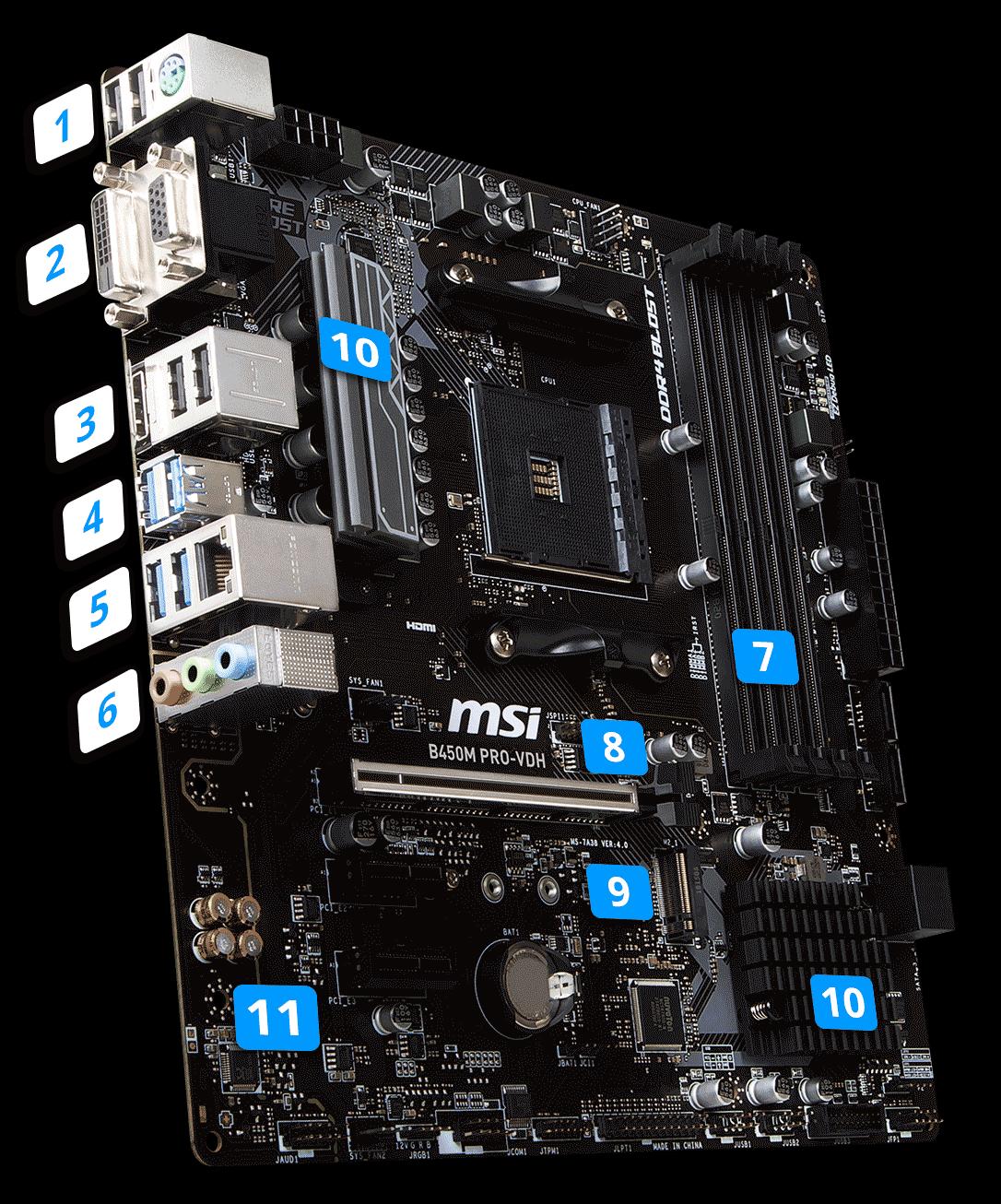 6x USB 3.1 Gen1 Micro-ATX Mainboard Sockel AM4 1x Turbo M.2 DVI-D VGA HDMI DDR4 MSI B450M PRO-VDH