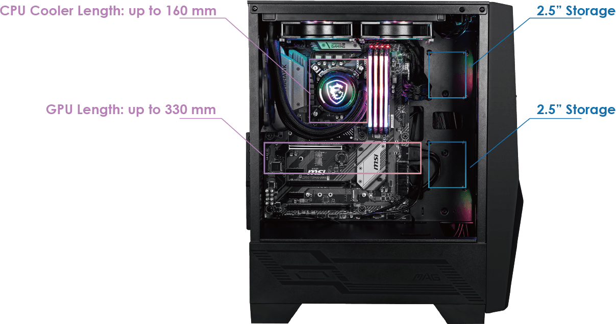 Gabinete gamer MSI MAG FORGE 100R - Vidrio Templado - ATX / Micro ATX / Mini-ITX 1 MAGFORCE100R