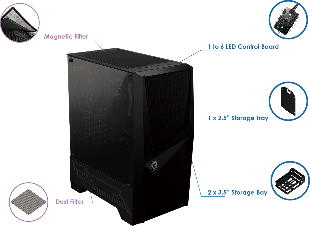 Gabinete gamer MSI MAG FORGE 100R - Vidrio Templado - ATX / Micro ATX / Mini-ITX 2 MAGFORCE100R