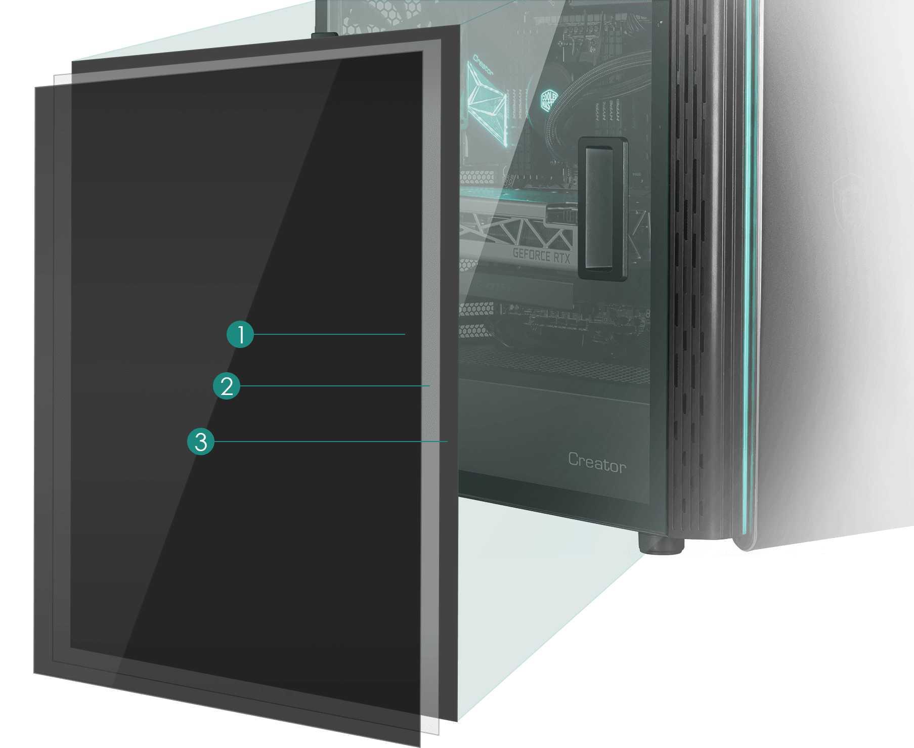 MSI Creator 400M Tempered Laminated Glass