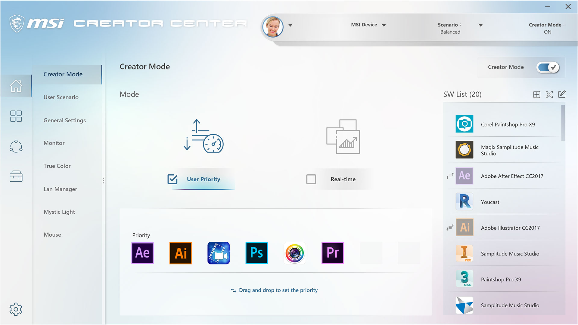 creator center- creator mode