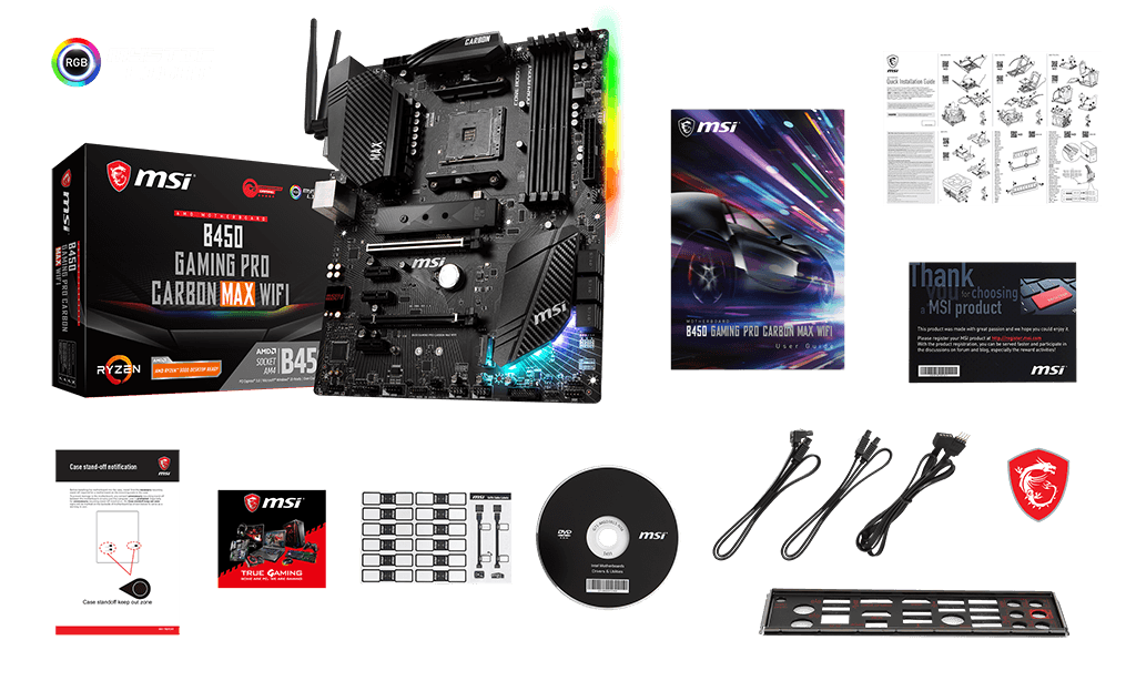 MSI B450 GAMING PRO CARBON MAX WIFI box content