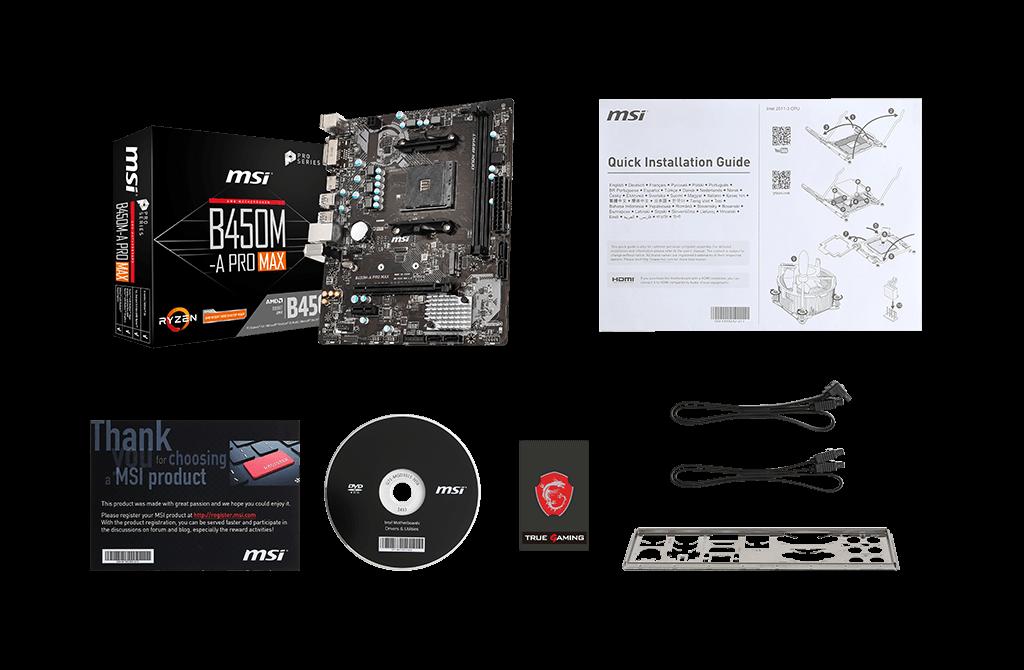 MSI B450-A PRO MAX box content