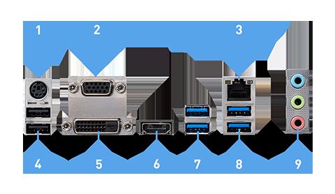 MSI B460M PRO-VDH back panel ports