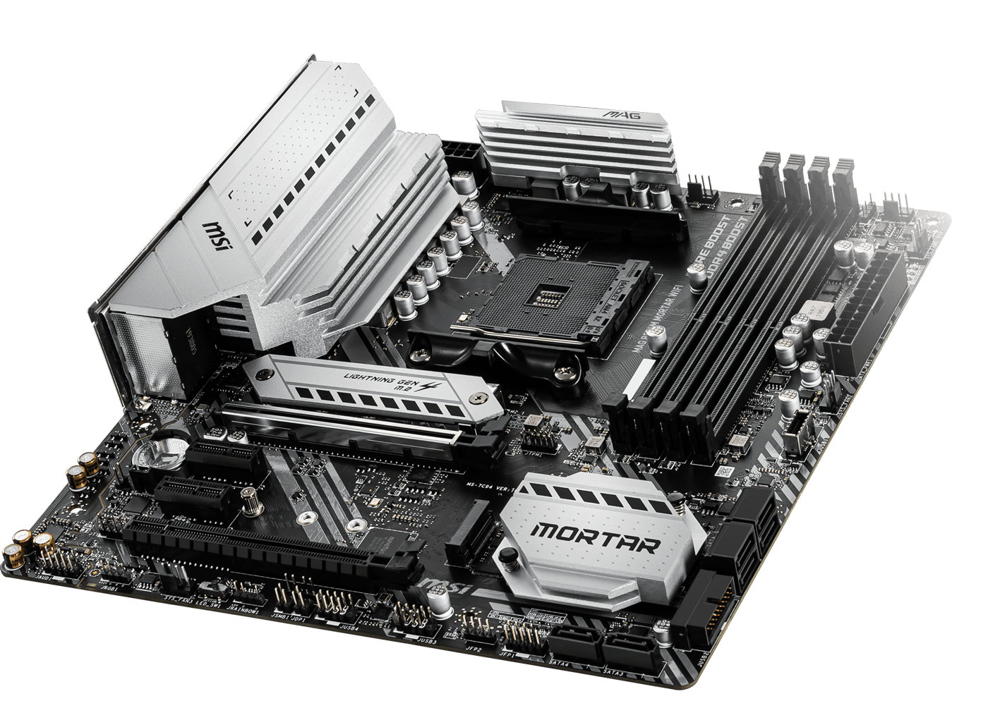 MSI MAG B550M MORTAR WIFI AMD AM4 DDR4 CF Lightning Gen 4 M.2 USB 3.2 Gen 2  HDMI WiFi6 mATX Gaming Motherboard