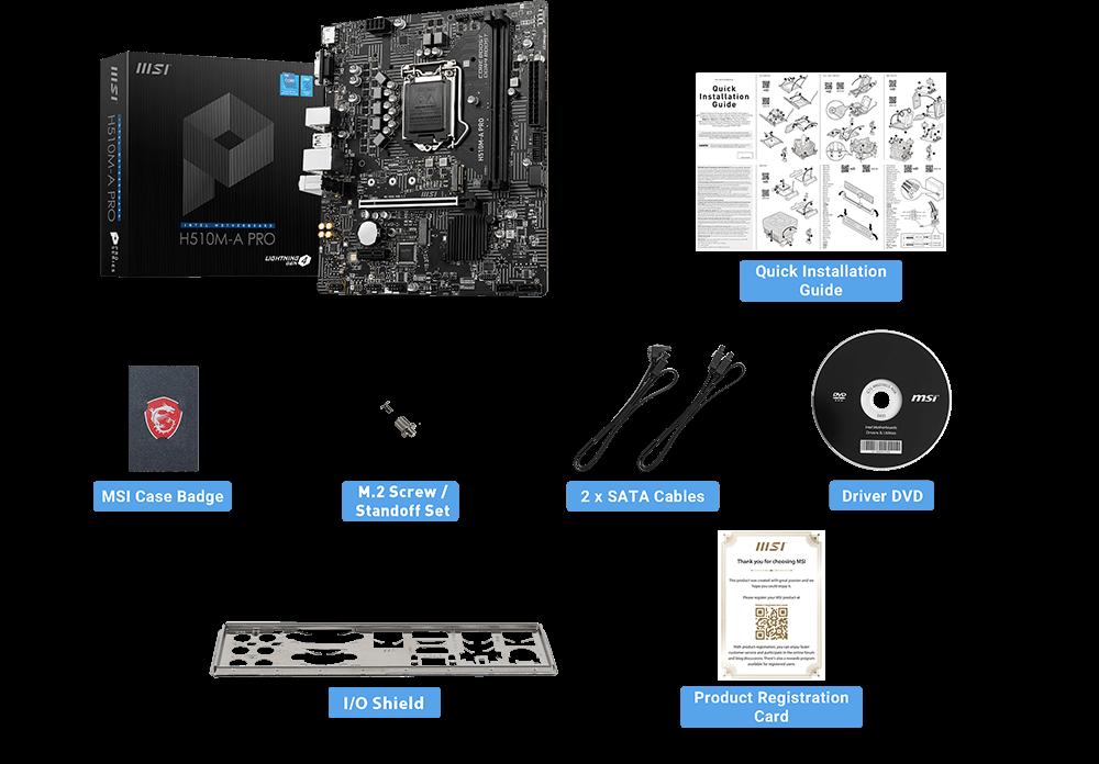 MSI H510M-A PRO box content