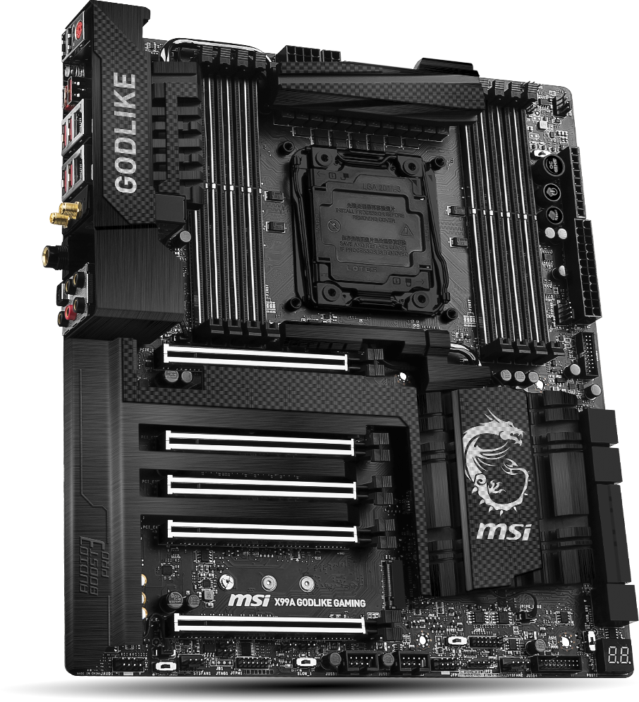 Image result for MSI 7883-001R Computer DIMM LGA 2011-3 Motherboard X99A GODLIKE GAMING CARBON