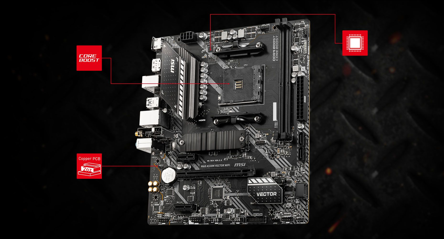 MSI MAG A520M VECTOR WIFI CORNERSTONE overview