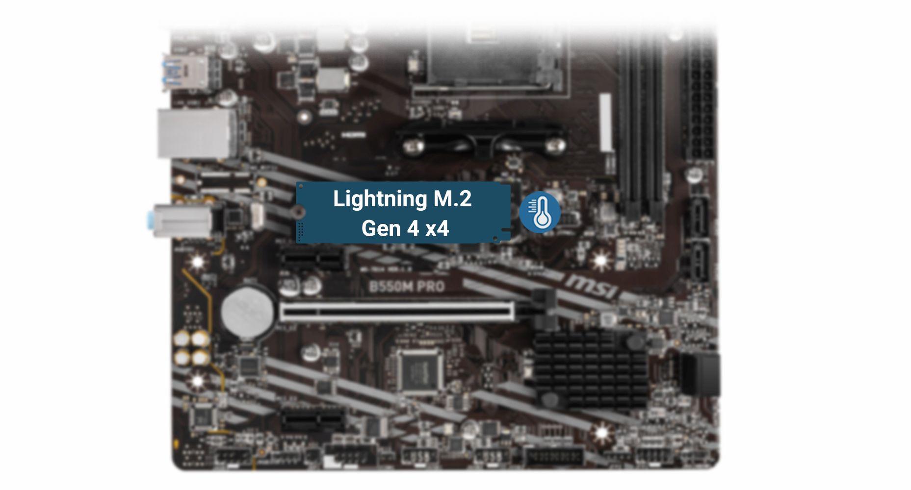 MSI B550M PRO LIGHTNING GEN4 M.2 WITH M.2 SHIELD FROZR