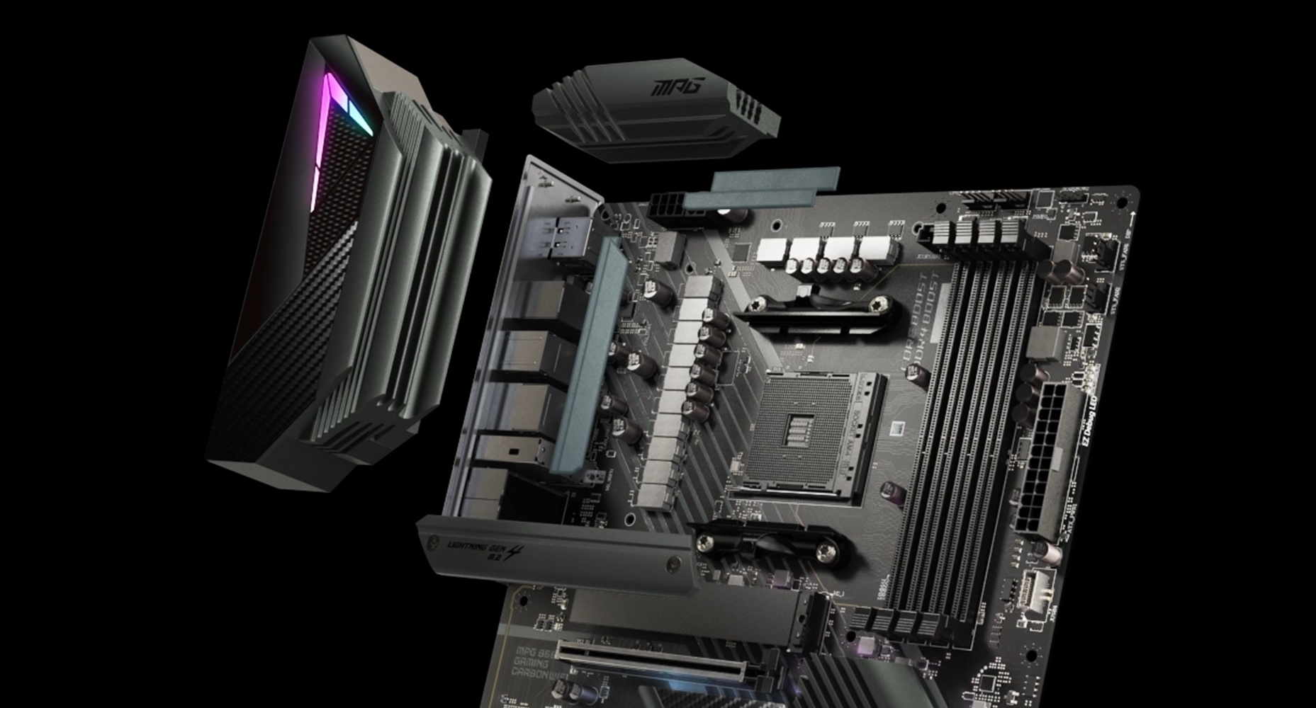 MSI MPG B550 GAMING CARBON WIFI THERMAL SOLUTION FOR MORE CORES AND HIGHER PERFORMANCE