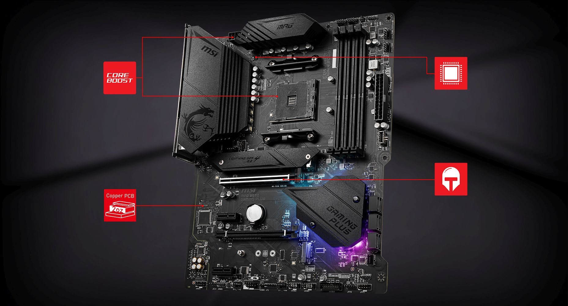 MSI MPG B550 GAMING PLUS CORNERSTONE overview