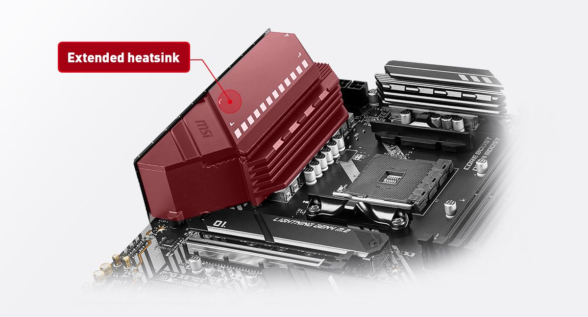 MSI MAG X570S TOMAHAWK MAX WIFI extended heatsink