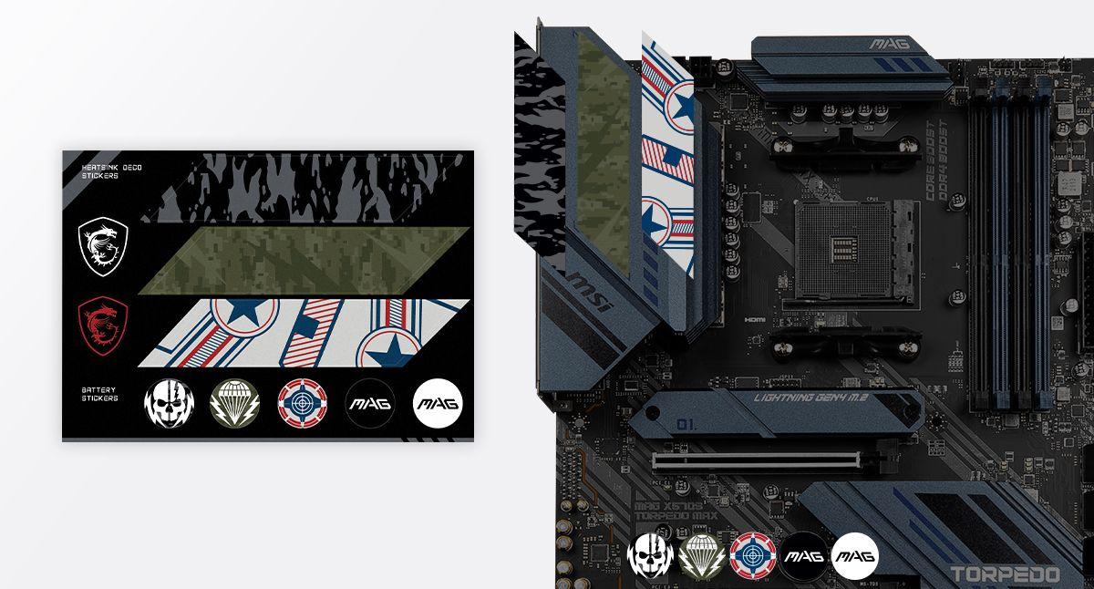 MSI MAG X570S TORPEDO MAX CUSTOMIZATION STICKERS