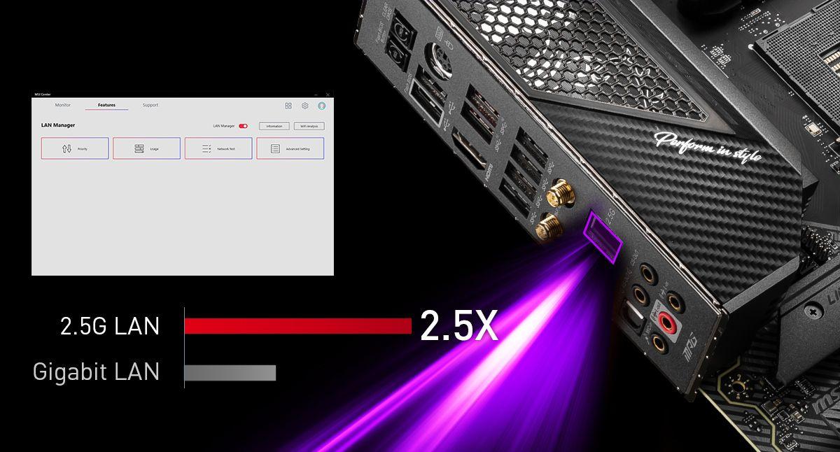 MSI MPG X570S CARBON MAX WIFI MAXIMIUM DATA TRANSFER WITH 2.5G LAN