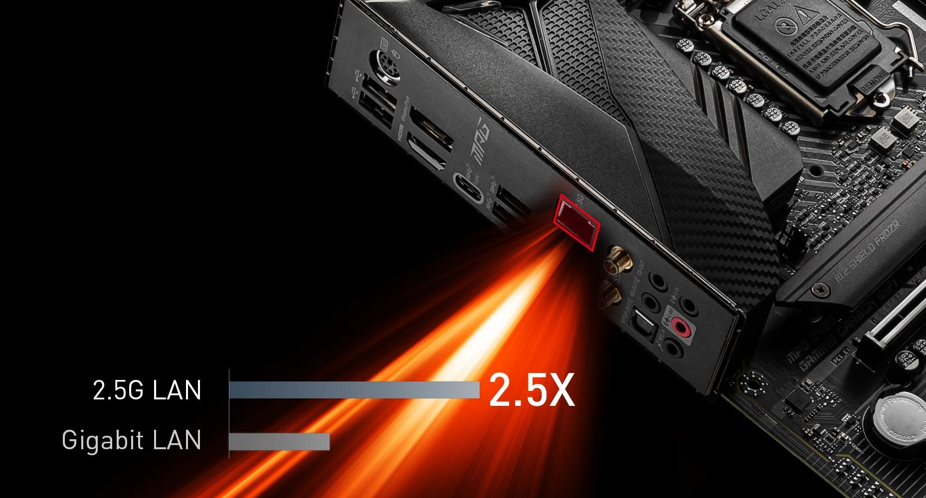 MSI MPG Z490 GAMING CARBON WIFI MAXIMIUM DATA TRANSFER WITH 2.5G LAN
