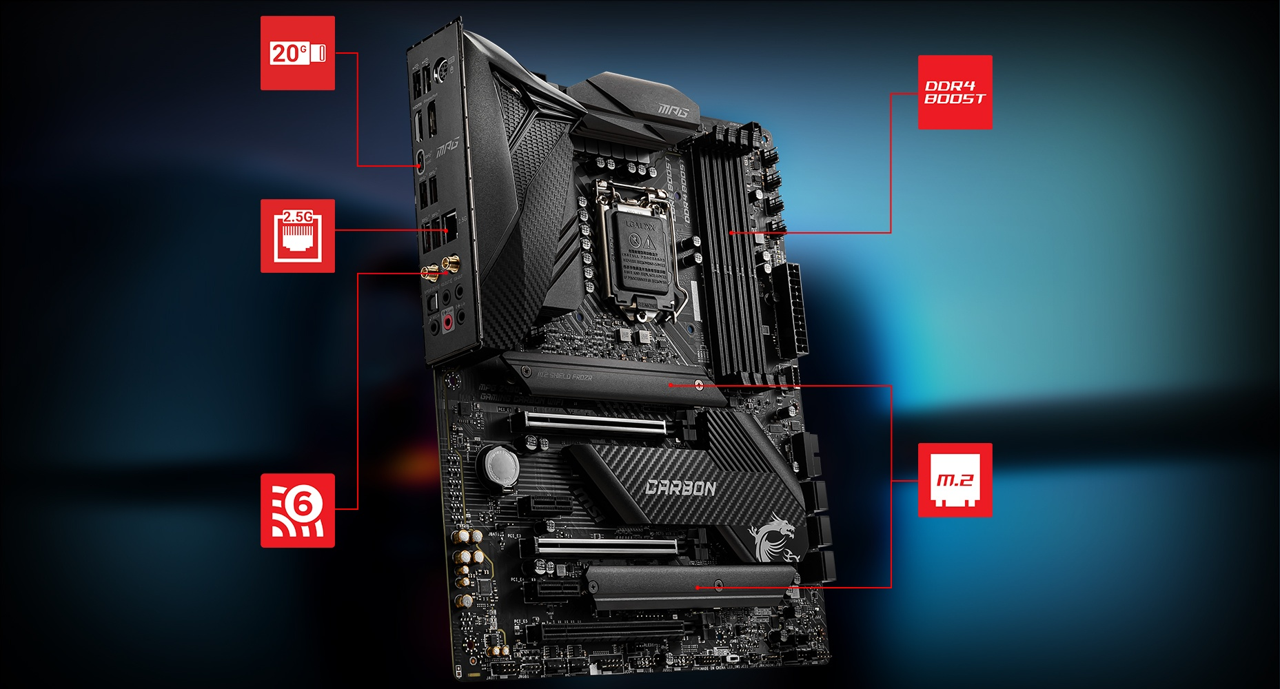 MSI MPG Z490 GAMING CARBON WIFI LIGHTNING overview