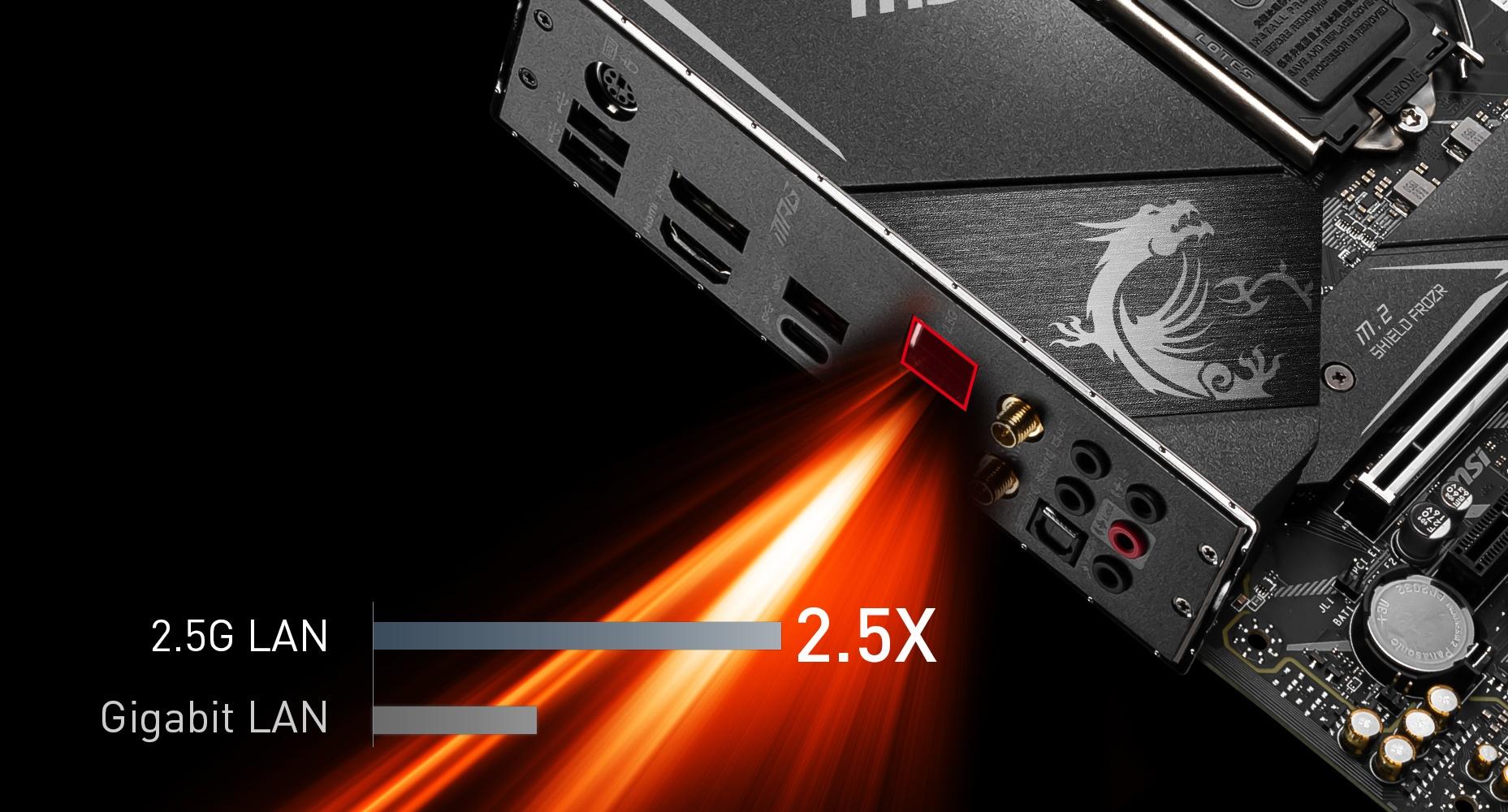 MSI MPG Z490M GAMING EDGE WIFI MAXIMIUM DATA TRANSFER WITH 2.5G LAN