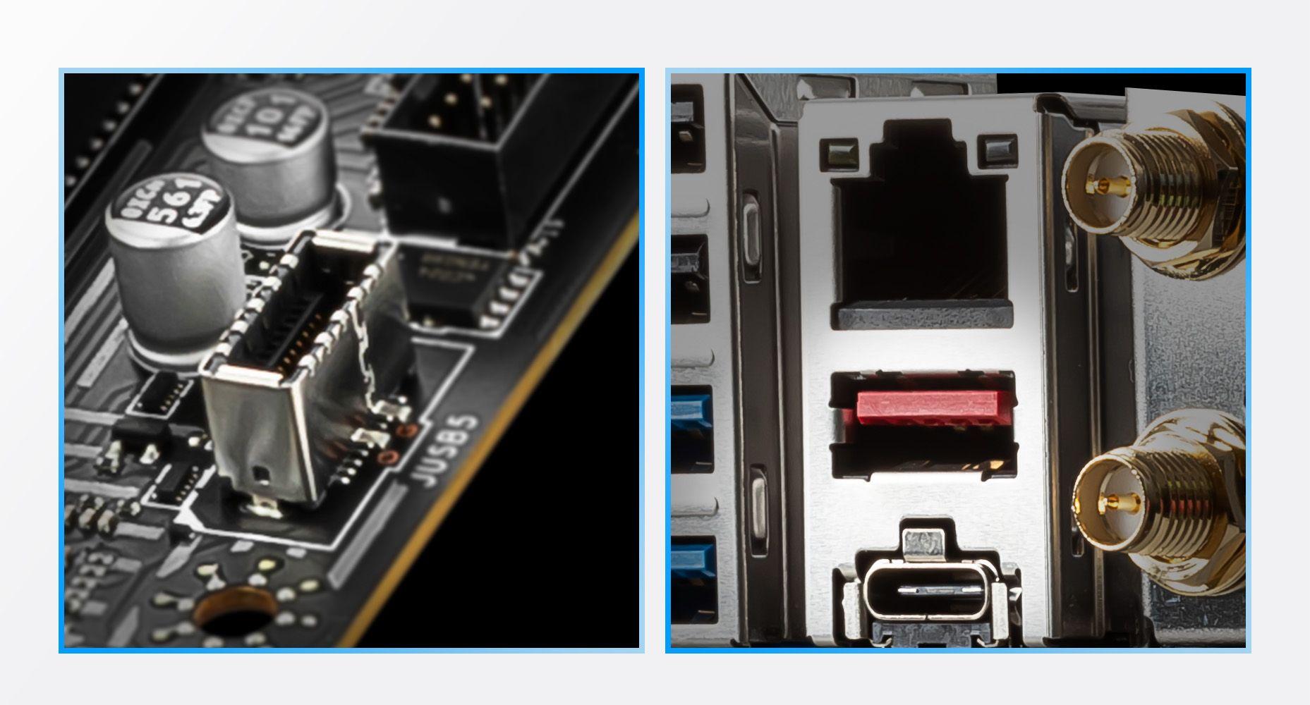 MSI Z590 PRO WIFI USB Type-C ready in both Front case panel & Rear IO