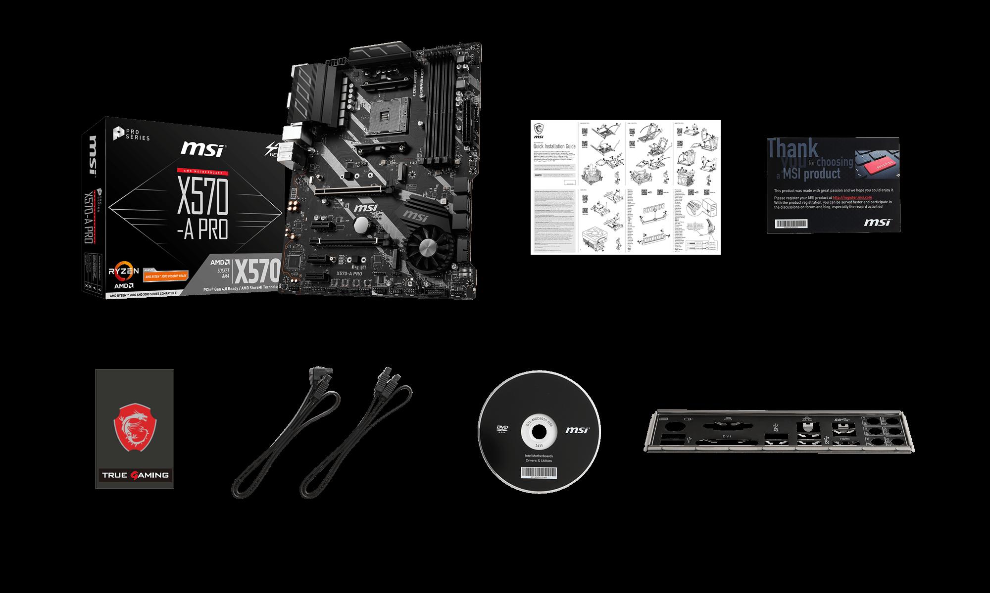 MSI X570-A PRO box content