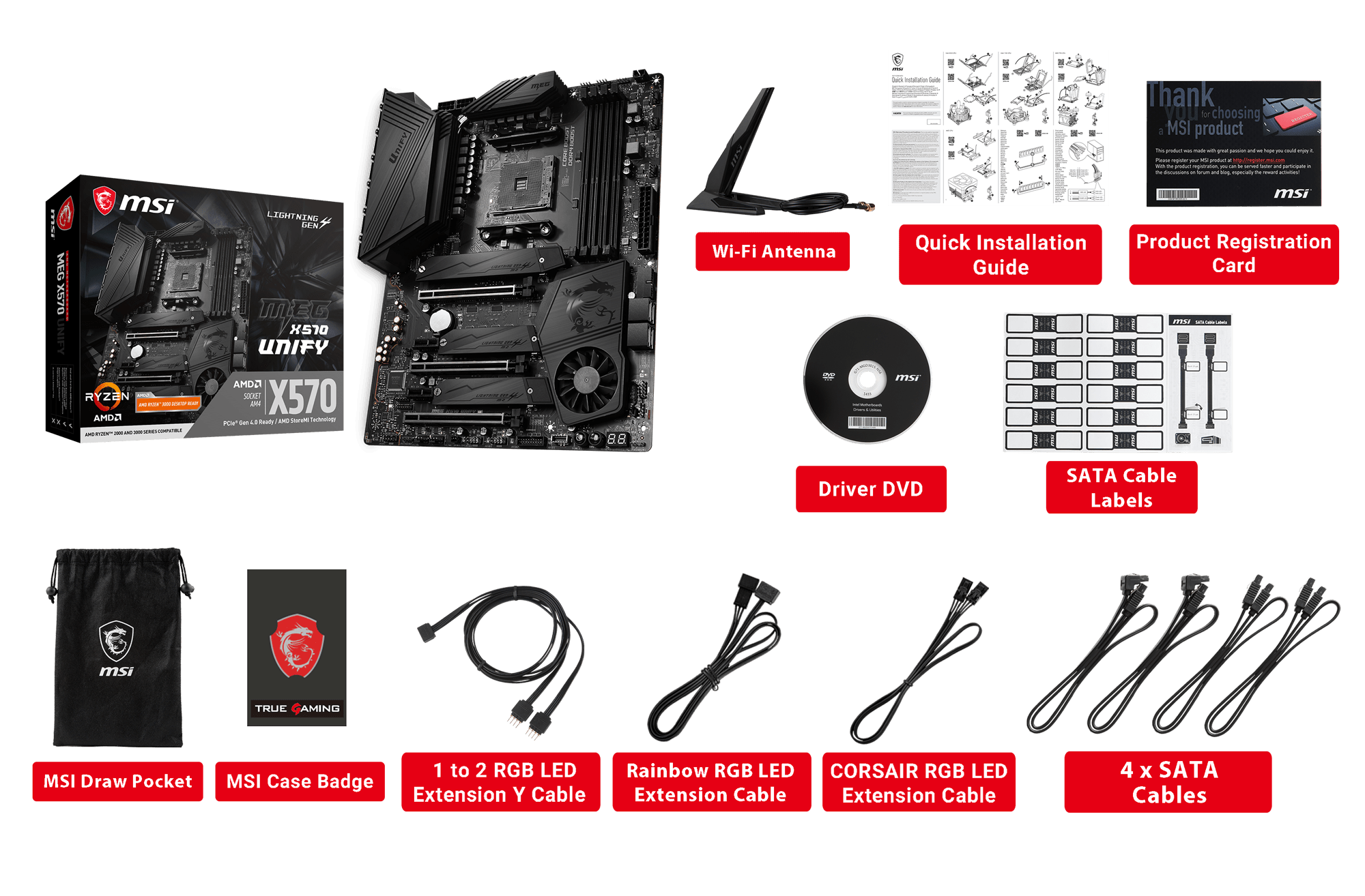 MSI MEG X570 UNIFY box content