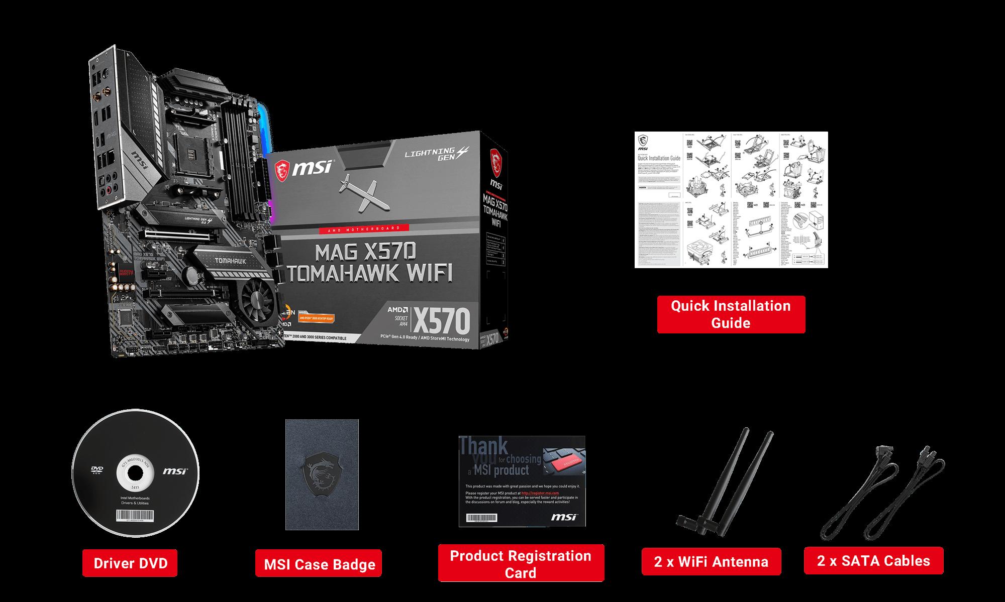 MSI MAG X570 TOMAHAWK WIFI box content