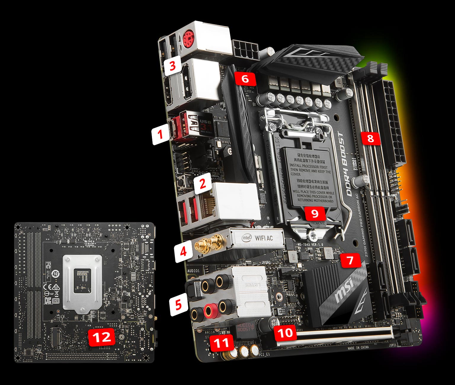 Z370i Gaming Pro Carbon Ac Motherboard The World Leader In Small Fan Start Capacitor Wiring Perform Style