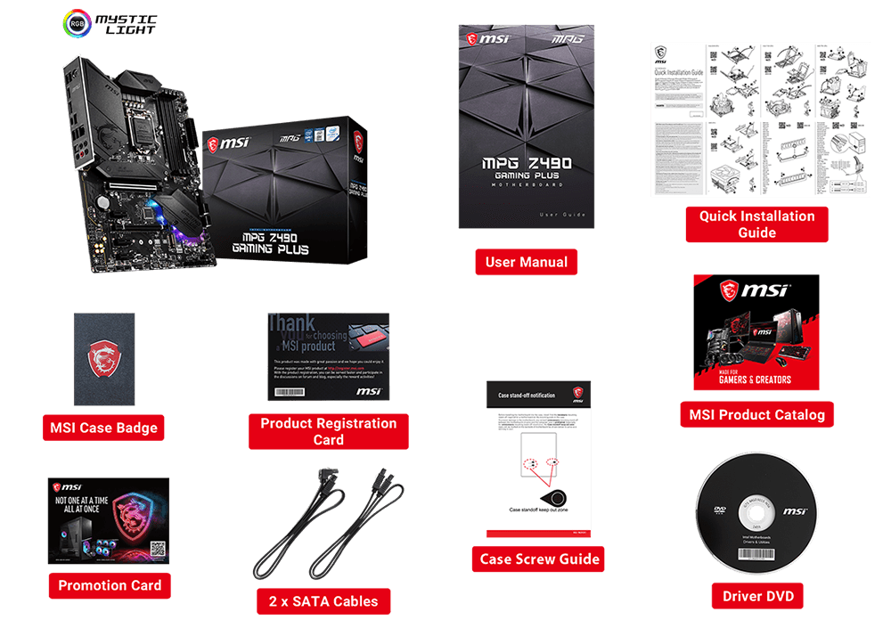 MPG Z490 GAMING PLUS box content