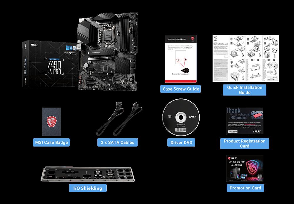 MSI Z490-A PRO box content